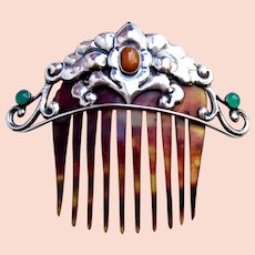 Silver Skonvirke hair comb with semi precious stones hair ornament