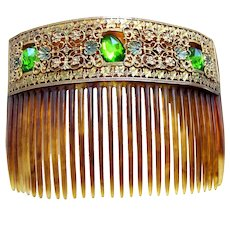 Victorian hair comb green glass stones hair ornament