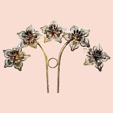 Late Victorian filigree flower hair pin hair accessory