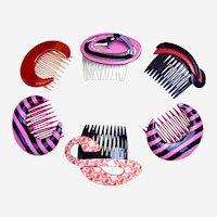 6 Rockabilly hair combs 1980s fun designs hair accessories