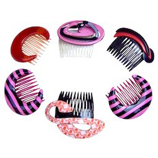 6 Rockabilly hair combs 1980s fun designs hair accessories