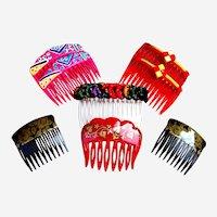 8 Rockabilly 1980s hair combs multi colour mixture