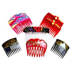 8 Rockabilly 1980s hair combs multi colour mixture