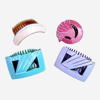 4 retro Pierre Olivier hair combs pastel mixture hair ornaments