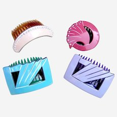 4 retro Pierre Olivier hair combs pastel mixture hair ornaments