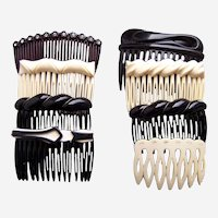 Eight 1980s side hair combs black white mix hair ornaments