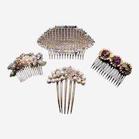 Four 1980s hair combs big and glitzy rhinestones hair accessories