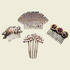 Four 1980s hair combs big and glitzy rhinestones hair accessories