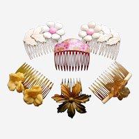 Six 1980s hair combs floral multi colour theme hair accessories