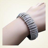 Expanding bracelet silver tone metal clear rhinestones 1980s