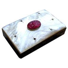 Mid Century mother of pearl cigarette case pill box smoking memorabilia