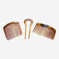 Three Victorian practical hair combs steer horn hair ornaments