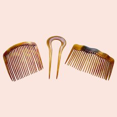 Three Victorian practical hair combs steer horn hair ornaments
