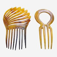 Two Victorian hair combs steer horn Spanish style hair ornaments
