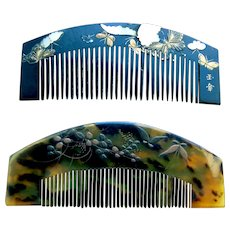 2 vintage Japanese hair combs with lacquer decoration hair ornaments (AAA)