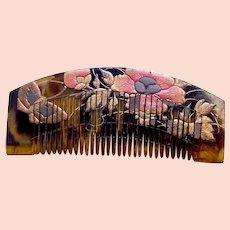 Vintage Japanese hair comb with gold lacquer decoration hair ornament (AAB)