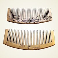 2 vintage Japanese hair combs with lacquer decoration hair ornaments (AAC)