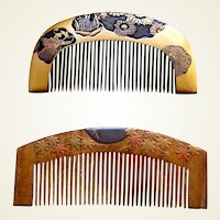 2 vintage Japanese hair combs with lacquer decoration hair ornaments (AAD)