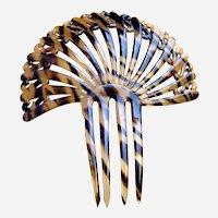 Art Deco hair comb faux tortoiseshell fan shape hair accessory