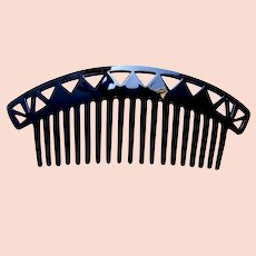 Art Deco black celluloid bandeau comb hair accessory