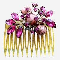 Mid century hinged side comb pink rhinestones hair accessory