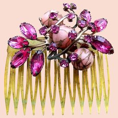 Mid century hinged side comb pink rhinestones hair accessory