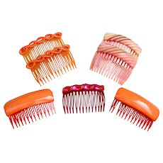 7 Rockabilly 1980s hair combs hot spicy pink mixture
