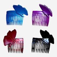 4 Rockabilly 1980s hair combs multi colour butterfly design