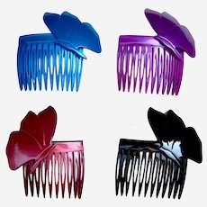 4 Rockabilly 1980s hair combs multi colour butterfly design