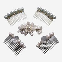 Five faux pearl 1980s hair accessories combs and barrette or hair clip