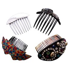 Four big and bold 1980s hair combs multi colour theme
