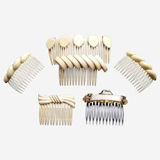 Six retro have combs 1980s ivory cream colour theme hair ornaments