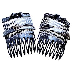 Six black celluloid hair combs mid century hair accessories