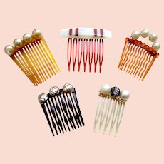 Five miniature faux pearl hair combs for child or doll