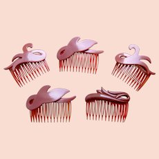 Five modernist style hair combs 1980s hair accessories