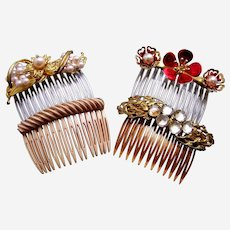 Four glitzy mid century hair combs with rhinestone trim hair ornaments