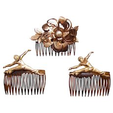 Three retro gold tone hair combs 1980s hair accessories signed WEINER