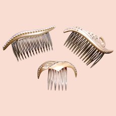 Three mid century hair combs mother of pearl effect hair accessories