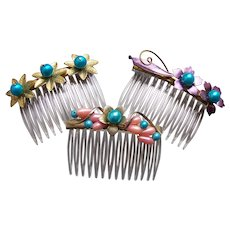 Three fancy pearl trim hair combs from mid century hair accessories