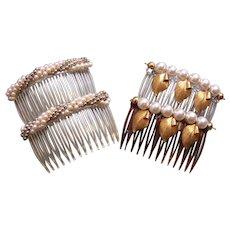 Four faux pearl hair combs mid century hair accessories
