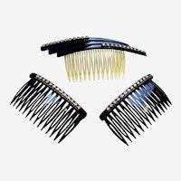 Three vintage rhinestone hair combs mid century hair accessories