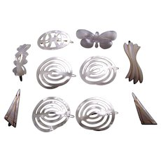Ten retro hair barrettes mother of pearl effect 1960s hair accessories