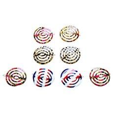 Eight retro hair barrettes 1960s swirl design hair accessories