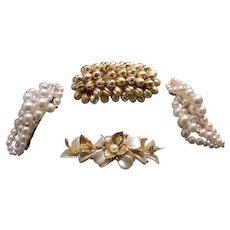 Four large retro hair barrettes 1980s faux pearl hair accessories