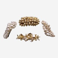 Hair barrette slide or hair clip lot 1980s faux pearls