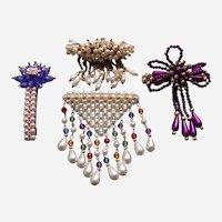 Quality retro barrette hair accessory or clip lot 1980s faux pearl dangles