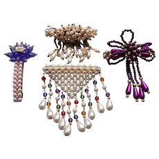 Four large retro hair barrettes faux pearl with dangles hair accessories