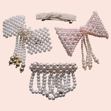 Four quality hair barrette slide or clip lot faux pearl 1980s accessories