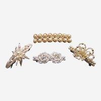 Quality hair accessory barrette or hair clip lot faux pearl 1980s