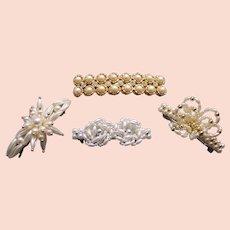 Four retro faux pearl hair barrettes 1980s hair accessories
